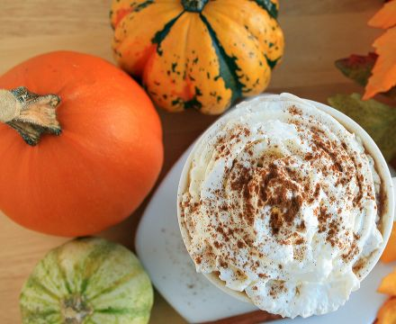 Coffee with spiced pumpkin whipped cream