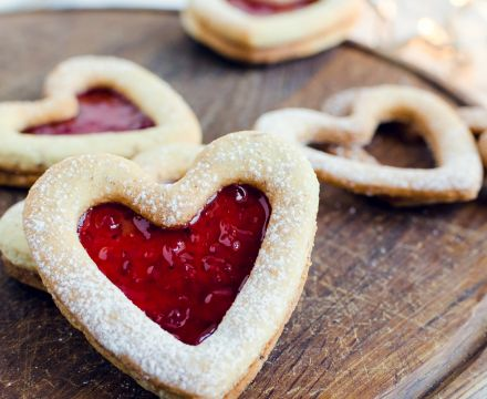 Jam heart biscuits